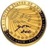 2012 Star-Spangled Banner Gold Commemorative Reverse Depicts the first words of the Star-Spangled Banner anthem, O say can you see, in Francis Scott Key's handwriting against a backdrop of 15 stars and 15 stripes, representing the Star-Spangled Banner flag. Designed by Richard Masters and engraved by Joseph Menna.