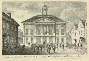 Federal Hall on Wall St. N.Y. and Washington's installation 1789 / lith. Risso & Browne. (Image courtesy of the New York Public Library)