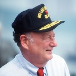 Mayor Ed Koch at the commissioning ceremony for the USS LAKE CHAMPLAIN (CG 57), 1988