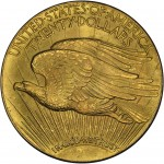 Reverse of the iconic 1933 Saint Gaudens$20 Double Eagle gold coin