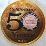 Reverse of the Montgomery County Coin Club medal with the special sticker commemorating the club's 50th anniversary in 2009.