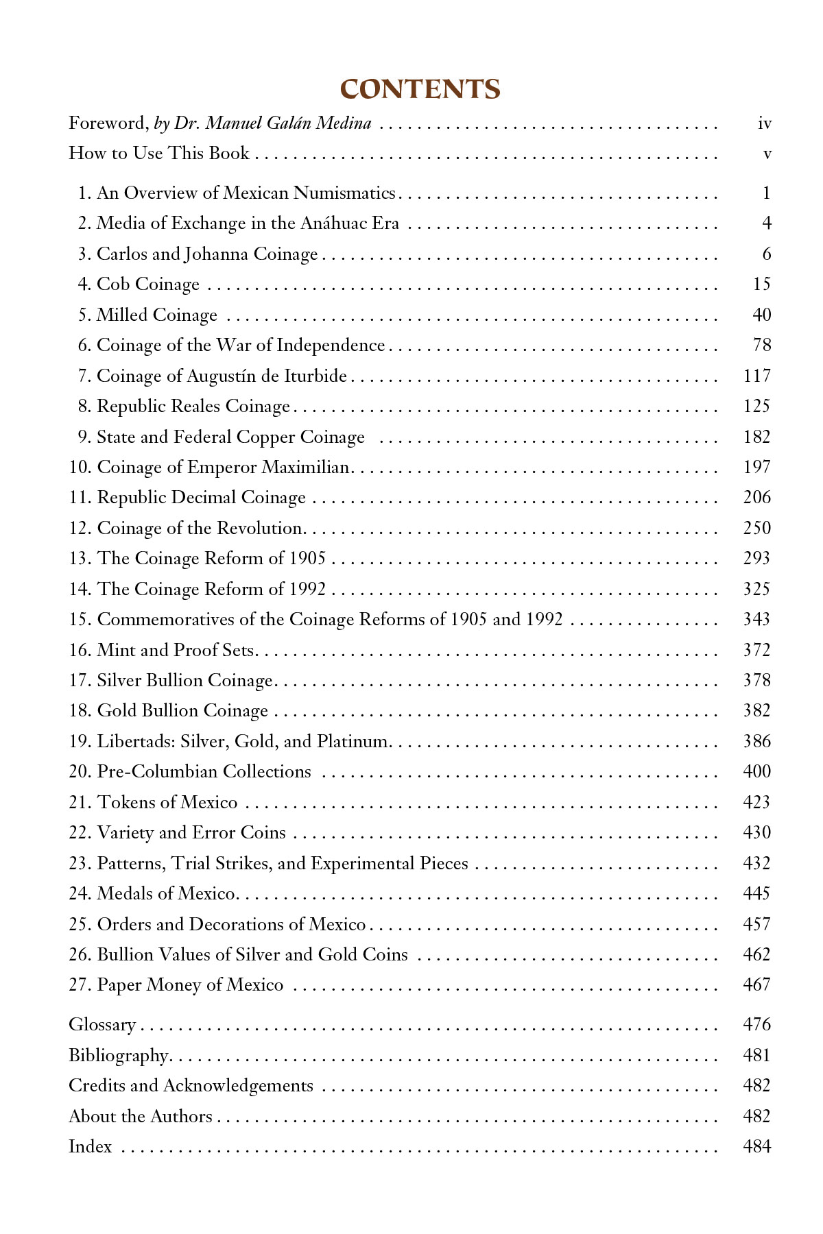 Encyclopedia Of Mexican Money Vol 1 Table Of Contents